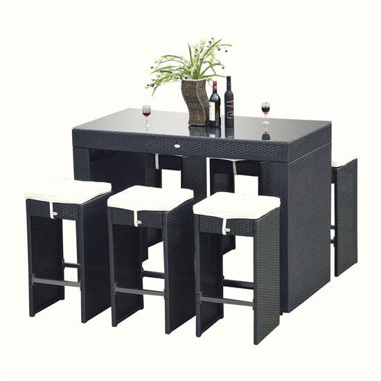 Outsunny藤条酒吧餐桌座椅套装(7件套)