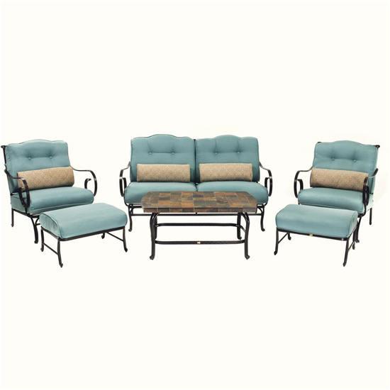 Oceana露天家具套装带石板咖啡桌(6件套)